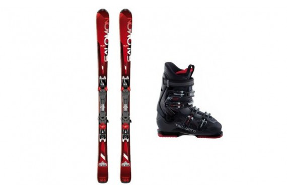 Прокат комплектов горных лыж с ботинками Salomon