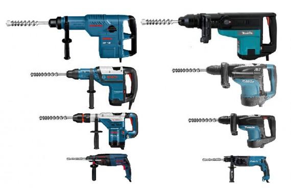 Широкий выбор перфораторов Bosch и Makita для буров от 4 до 52 мм