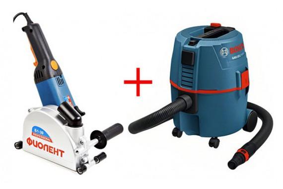 Штроборез Фиолент Б2-30 и пылесос Bosch GAS 20